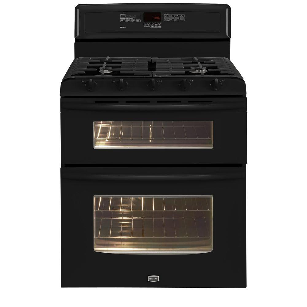 Maytag Gemini 6 cu. ft. Double Oven Gas Range with Self-Cleaning Convection Oven in Black-DISCONTINUED