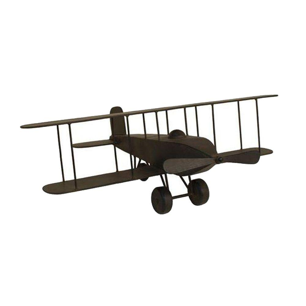 Home Decorators Collection 24 in. Rustic Bronze Model Airplane Figurine