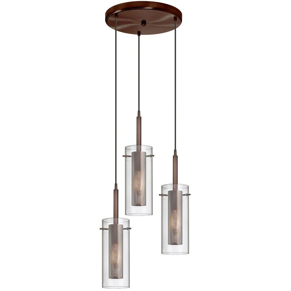 Radionic Hi Tech Nella 3-Light Oil-Brushed Bronze Round Pendant with Clear Glass/Steel Mesh