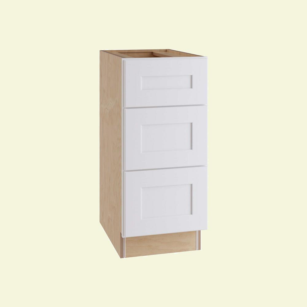 Home Decorators Collection Newport Assembled 15 in. x 34.5 in. x 24 in. Base Kitchen Cabinet with 3 Drawers in Pacific White