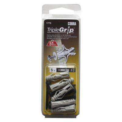 #8 x 1-1/4 in. Anchors with Black Screws (5-Pack)
