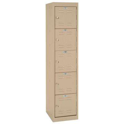 66 in. H 5-Tier Welded Steel Storage Locker in Tropic Sand