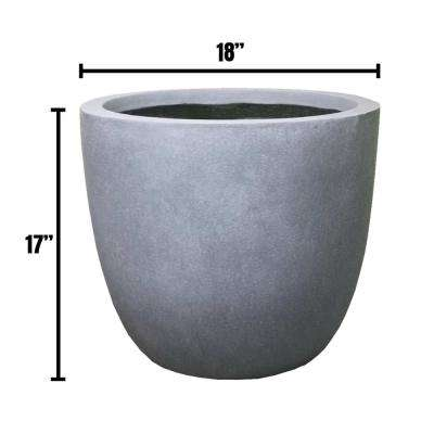 Large 17.7 in. x 17.7 in. x 16.9 in. Cement Color Lightweight Concrete Modern Seamless Round Planter