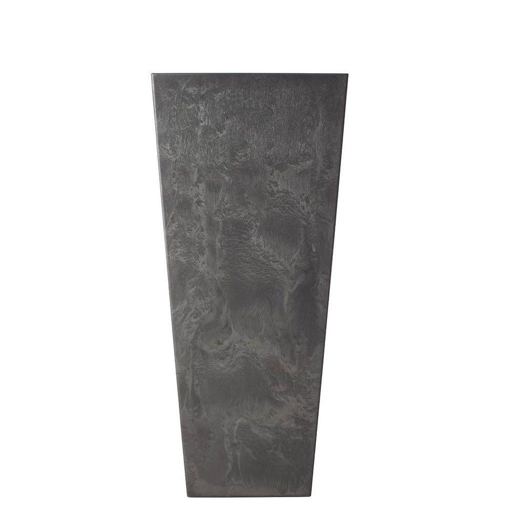 Home Decorators Collection 16 in. W x 35.5 in. H Black Fiberglass Ella Tall Planter