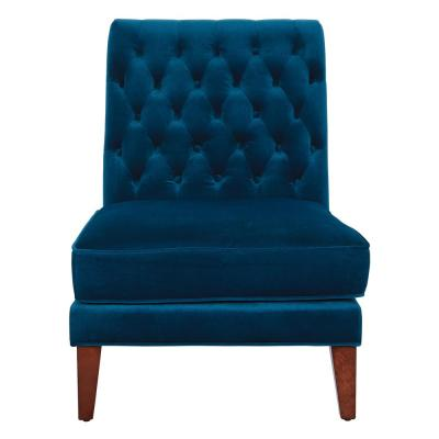 Brampton Deep Blue Velvet Accent Chair with Coffee Legs