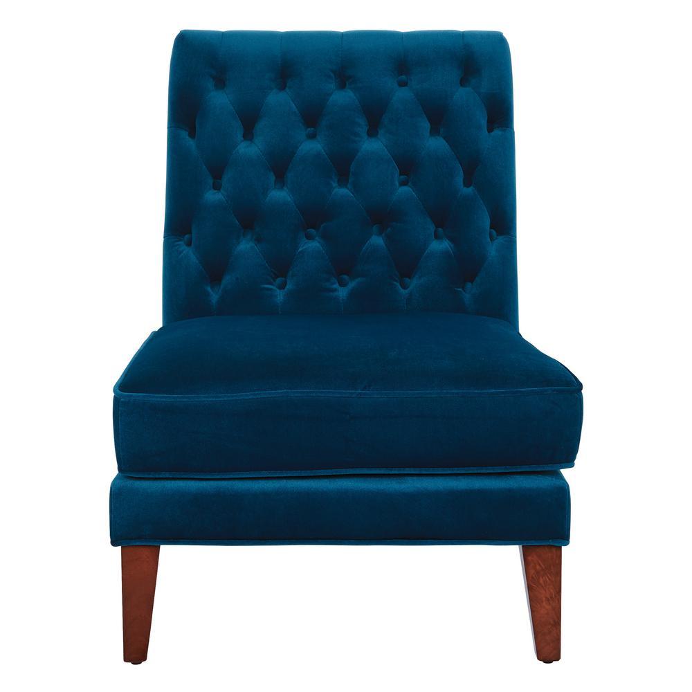 Brampton Deep Blue Velvet Accent Chair with Coffee Legs