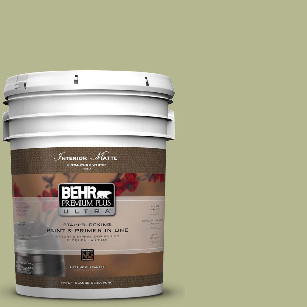 BEHR Premium Plus Ultra 5 gal. #HDC-SP14-1 Secret Glade Matte Interior Paint