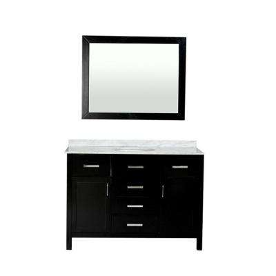Hampton 49 in. W x 21.5 in. D Vanity in Espresso with Marble Vanity Top in Carrara White with Basin and Mirror