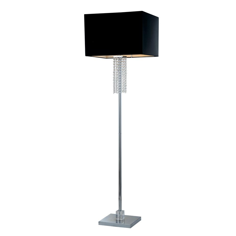 Exceptionnel Square Modern Chrome And Black Crystal Floor Lamp