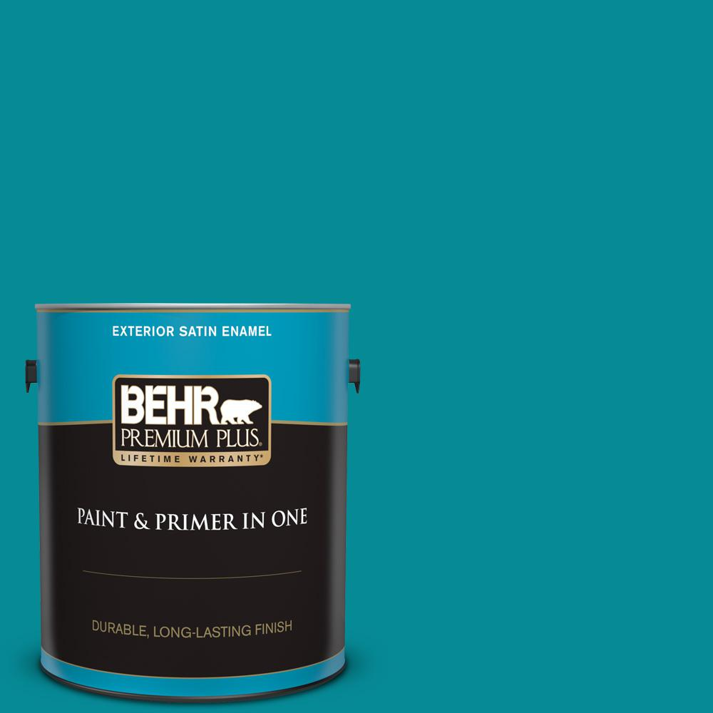 Behr Premium Plus 1 Gal 510b 7 Empress Teal Satin Enamel Exterior Paint And Primer In One 934001 The Home Depot