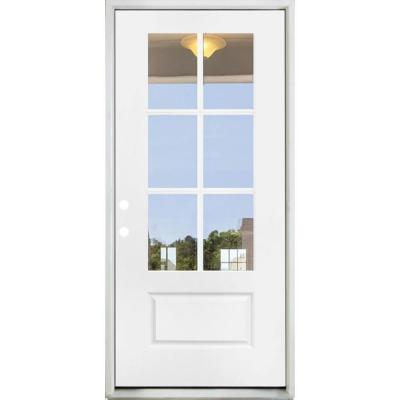 36 in. x 80 in. Legacy 6 Lite 3/4 Lite Clear Glass Right Hand Inswing White Primed Fiberglass Prehung Front Door