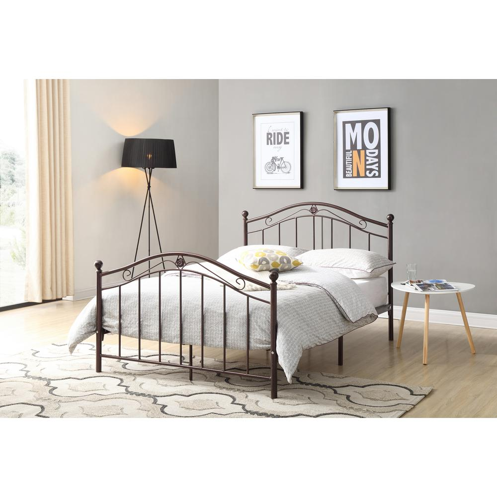 Hodedah Bronze Twin Size Metal Panel Bed With Headboard And