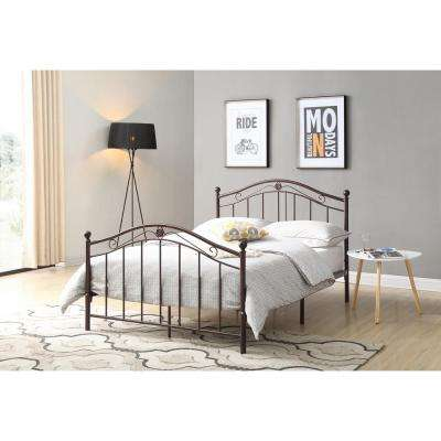 Bronze Full-size Metal Panel Bed with Headboard and Footboard