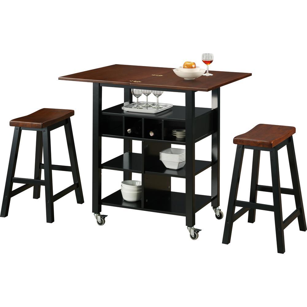 4D Concepts Phoenix Mahogany Kitchen Cart with Stools 43928