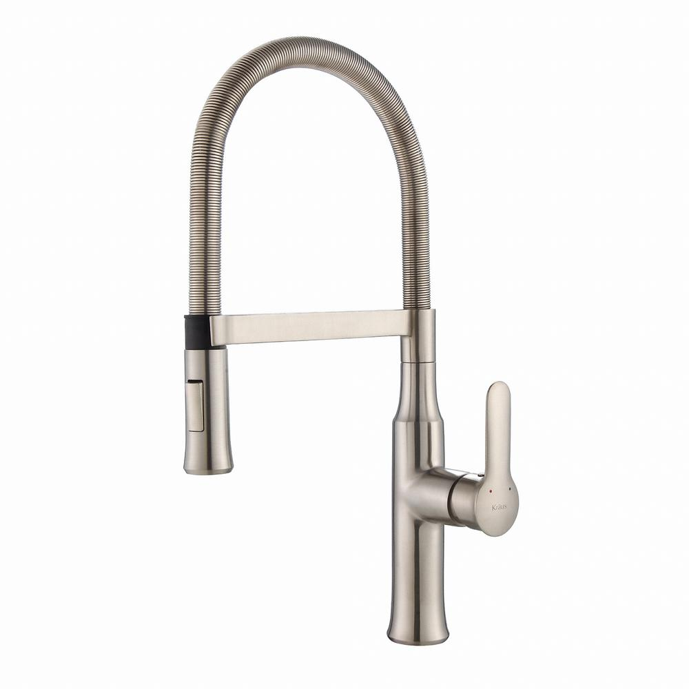 Kraus Nola Flex Commercial Style Single Handle Pull Down Sprayer Kitchen Faucet In Stainless