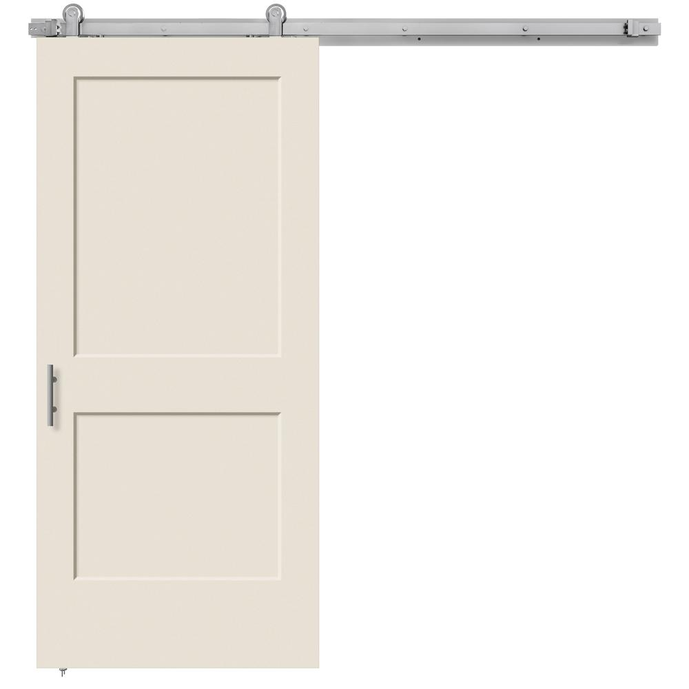Monroe Primed Smooth Molded Composite MDF Barn Door with Modern Hardware Kit-THDJW191200692 - The Home Depot  sc 1 st  The Home Depot & JELD-WEN 36 in. x 84 in. Monroe Primed Smooth Molded Composite MDF ...