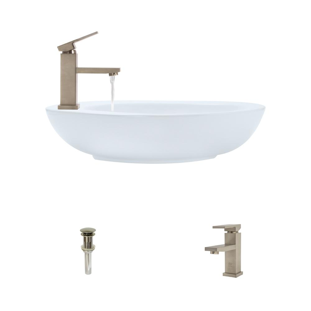 MR Direct Porcelain Vessel Sink in White with 720 Faucet ...