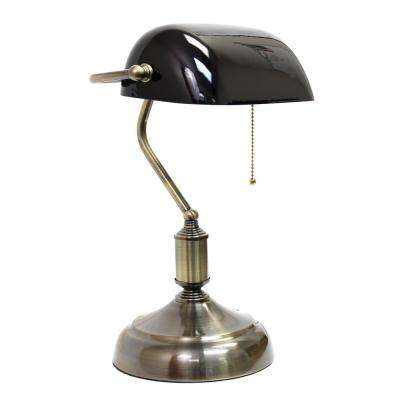 14.75 in. Executive Banker's Desk Lamp with Black Glass Shade