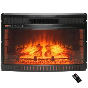 Click here to buy AKDY 25 inch Freestanding Electric Fireplace Insert Heater in Black with Curved Tempered... by AKDY.