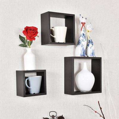 Victoria 10 in. and 8 in. and 3.6 in. Espresso Cube Display Shelves