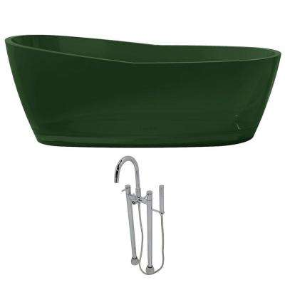 Ember 65.6 in. Man-Made Stone Slipper Flatbottom Non-Whirlpool Bathtub in Emerald Green and Sol Faucet in Chrome