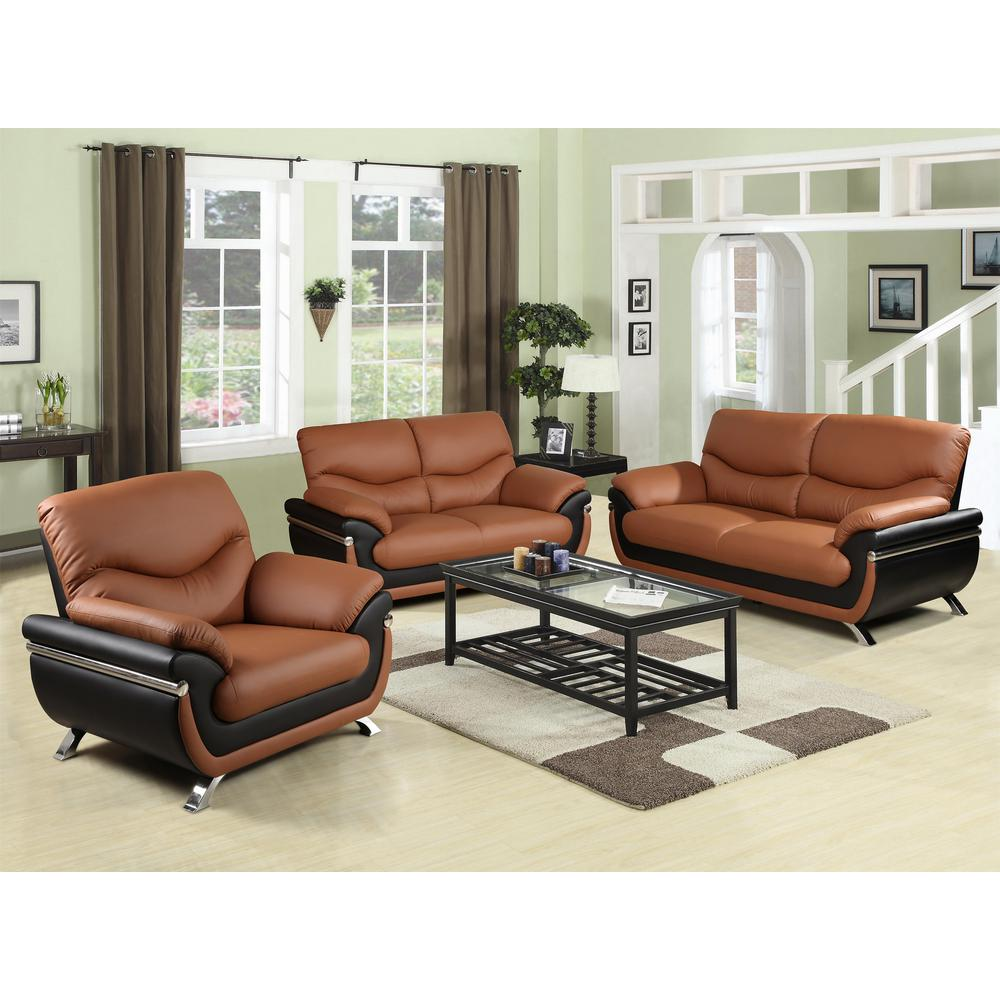 Two Tone Red And Black Leather Three Piece Sofa Set