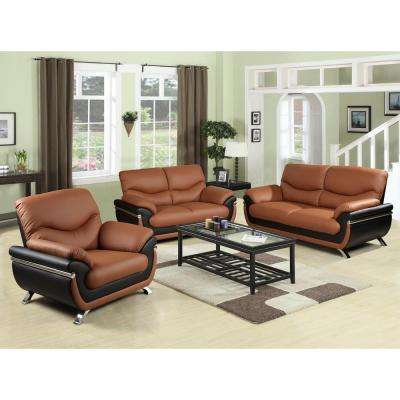 Two-tone Red and Black Leather Three Piece Sofa Set