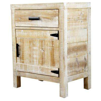 Shelly Assembled 21.75 in. x 21.75 in. x 13.75 in. Distressed Wood Accent Storage Cabinet with a Drawer and Door