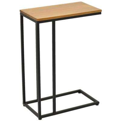 26 in. Brown Metal with Wood Top C Table