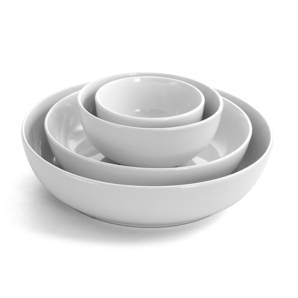 All U Need 20 oz. White Ceramic Bowl Set (Set of 14)