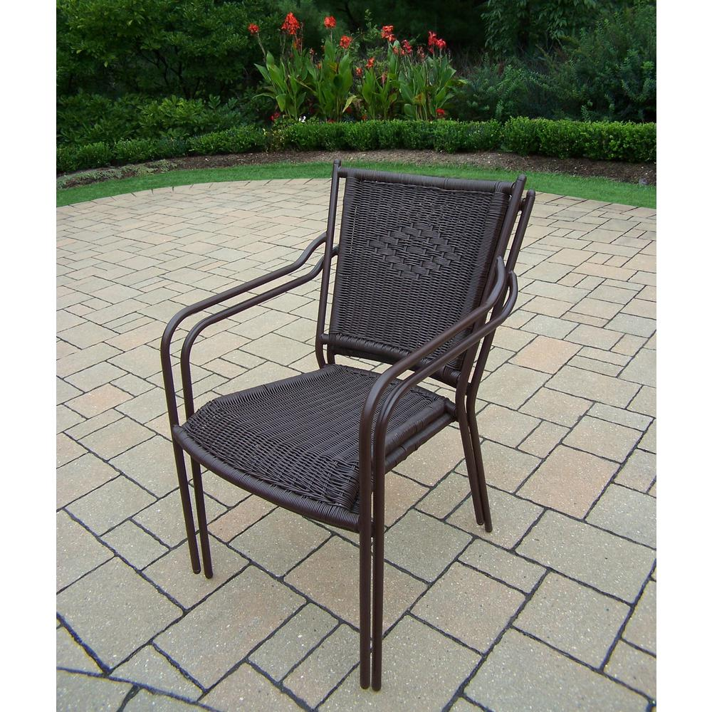 Coffee Wicker Outdoor Dining Chair (2-Pack)