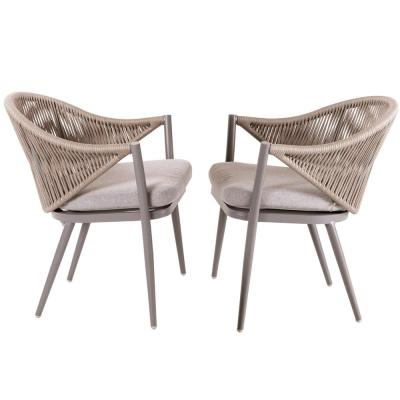Stationary Aluminum Woven Rope Outdoor Dining Chair with Beige Cushions (2-Pack)
