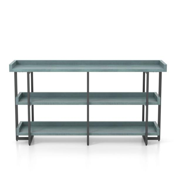 Fitzwallace 32 in. Antique Blue and Blue Metal 3-Shelf Accent Bookcase with Open Back