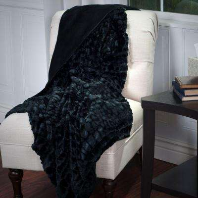 Black Plush Croc Embossed Faux Fur Mink Throw