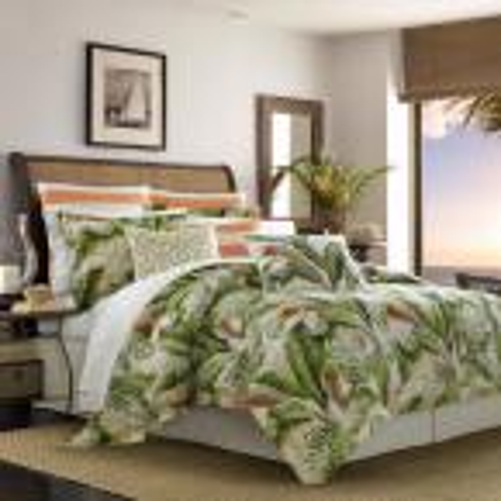 Palmiers 4-Piece Green King Comforter Set