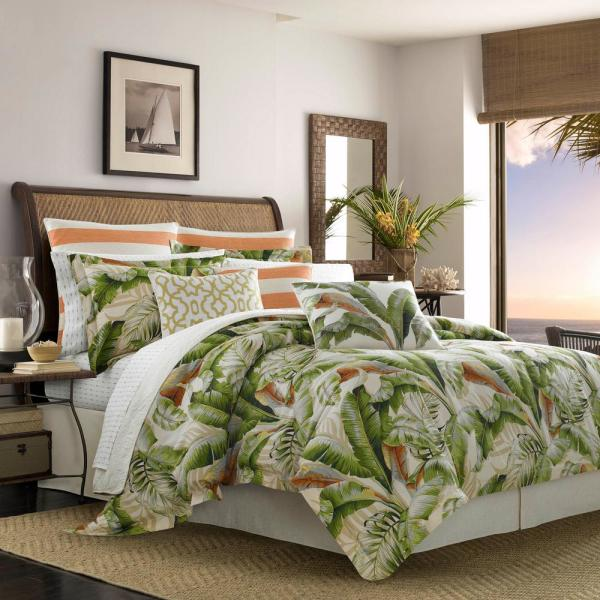 Palmiers 4-Piece Green Botanical Cotton California King Comforter Set