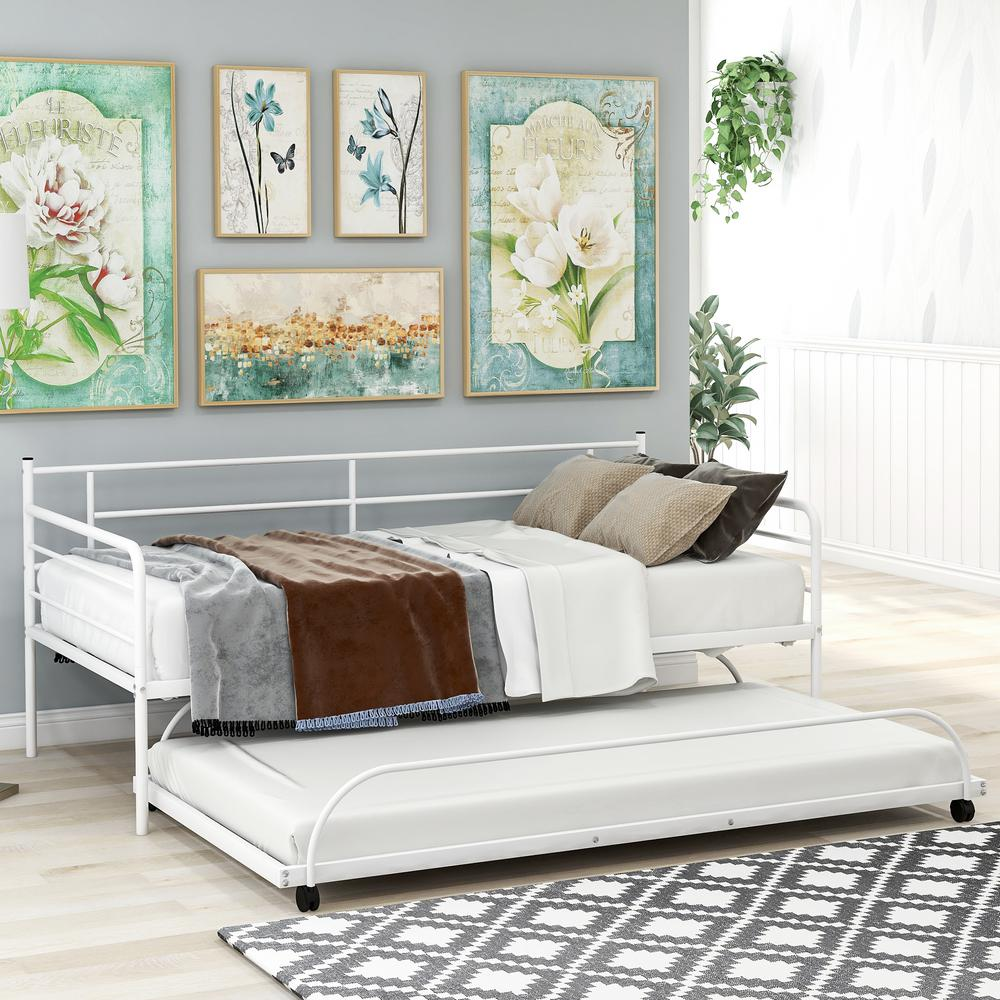 Harper & Bright Designs Simple Design White Twin Metal Daybed with Trundle was $339.9 now $256.25 (25.0% off)