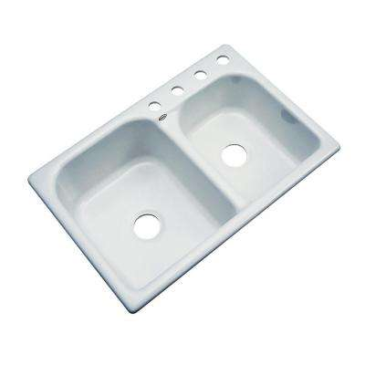 Cambridge Drop-In Acrylic 33 in. 4-Hole Double Bowl Kitchen Sink in Sterling Silver