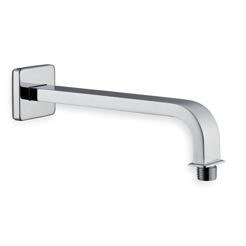 GLACIER BAY Glacier Bay Modern 10 in. Brass Square Shower Arm in Chrome, Grey