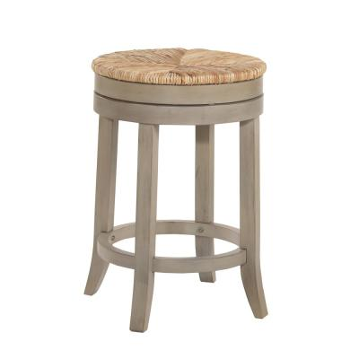 Irving 24 in. Weathered Gray Swivel Counter Stool