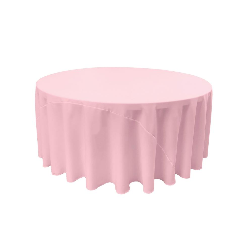 120 in. Light Pink Polyester Poplin Round Tablecloth