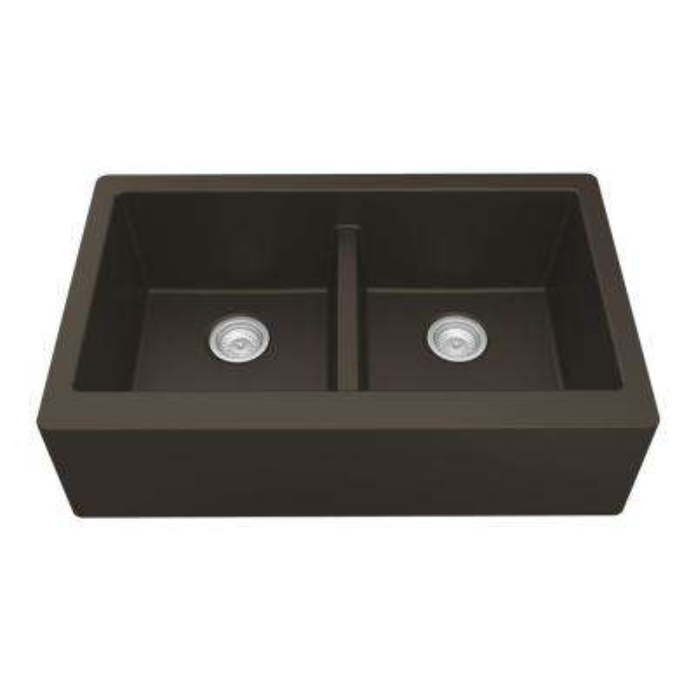 Farmhouse Apron Front Quartz Composite 34 in. Double Bowl Kitchen Sink in Brown