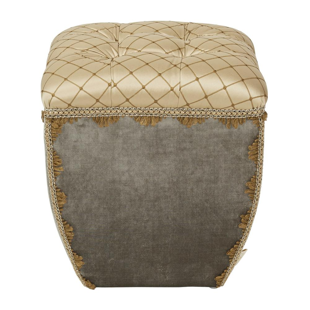Jennifer Taylor Jan Gray and Gold Ottoman, Gray Velvet & ...