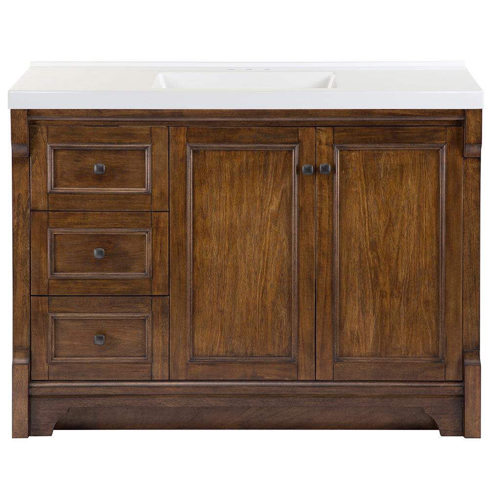 Home Decorators Collection Creedmoor 49 in. W x 22 in. D Bath Vanity in Walnut with Cultured Marble Vanity Top in White with White Sink was $1429.0 now $857.4 (40.0% off)