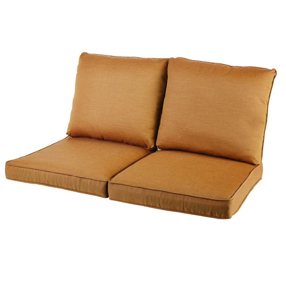 hampton bay oak heights cashew replacement loveseat cushion okhs4cu set the home depot. Black Bedroom Furniture Sets. Home Design Ideas