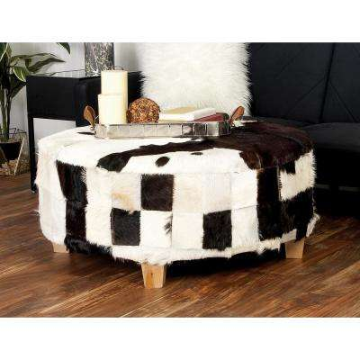 18 in. H x 39 in. W Black and White Patch Furry Hide Round Ottoman