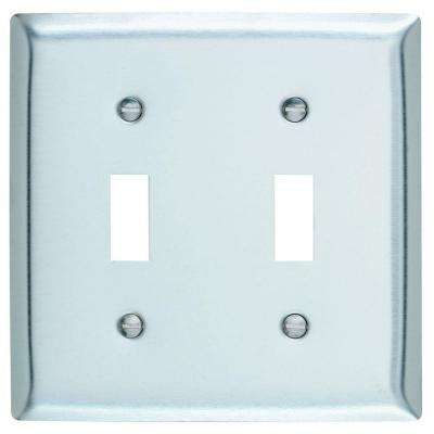 2 Gang Toggle Wall Plate - Stainless Steel