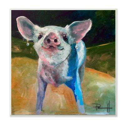 """12 in. x 12 in."""" Proud and Painterly Piglet with Earrings"""" by Main Line Art & Design Printed Wood Wall Art"""