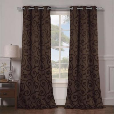 Semi-Opaque Lewis 84 in. L Grommet Panel in Chocolate (2-Pack)