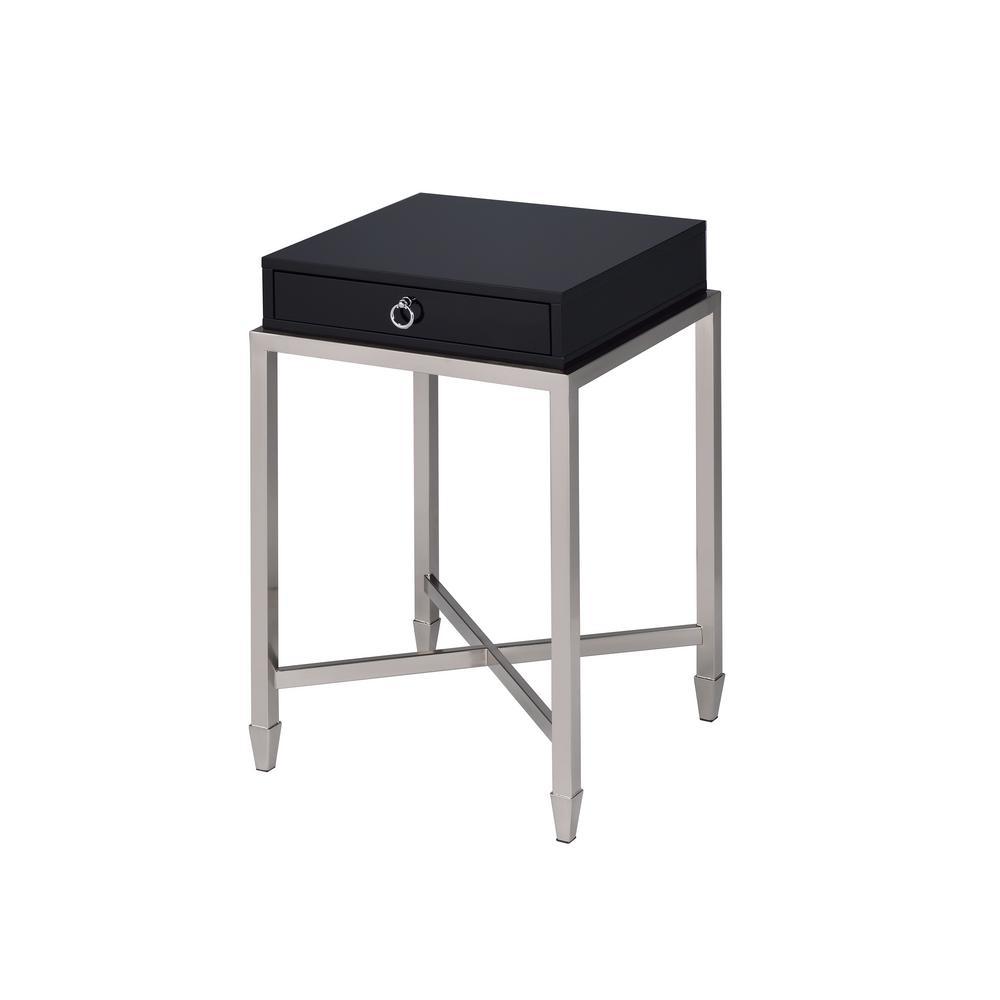 Belinue Black and Brushed Nickel End Table